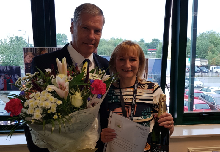 Annette receives her long service award