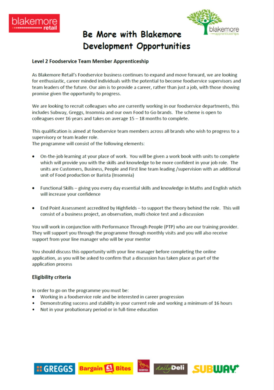 Blakemore Retail Level 2 apprenticeship