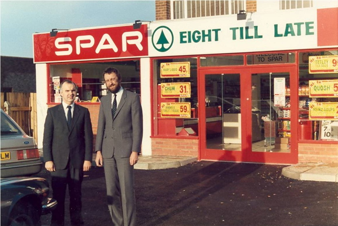 Peter and Elwyn outside SPAR Bentley