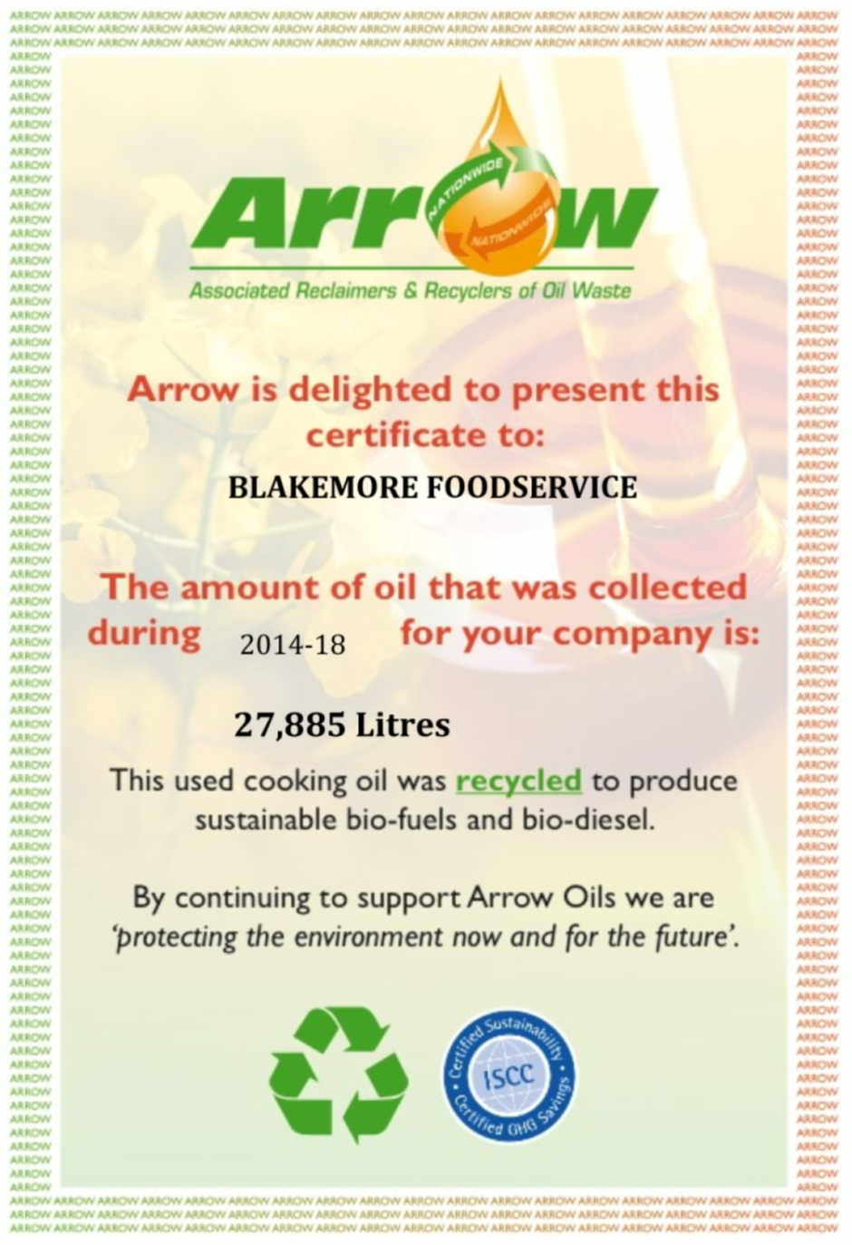 Blakemore_Foodservice_Oil_Collection_Certificate